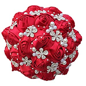 S-SSOY Wedding Bouquet Bride Bridal Brooch Bouquets Bridesmaid Bouquet Diamond Pearl Ribbon Valentine's Day Confession Party Church Free Corsage Flower 104