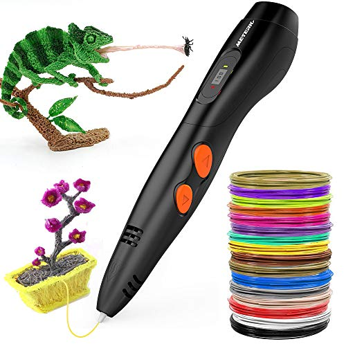 3D Pen Meterk Professional Printing Drawing Pen for Kids Adults Arts Craft with 1.75mm 16 Colors PLA Filament Refills DIY 3D Pen Doodler Drawing Printing Working with ABS PLA Filament