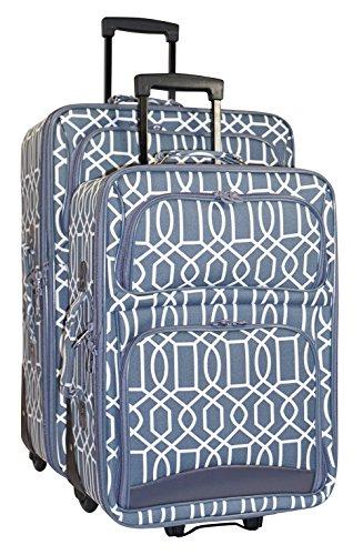 Ever Moda Geometric 2 Piece Luggage Set (Geometric - Grey) by Ever Moda