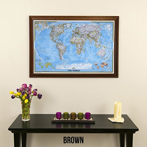 Push Pin Travel Maps Classic World with Brown Frame and Pins - 27.5 inches x 39.5 inches