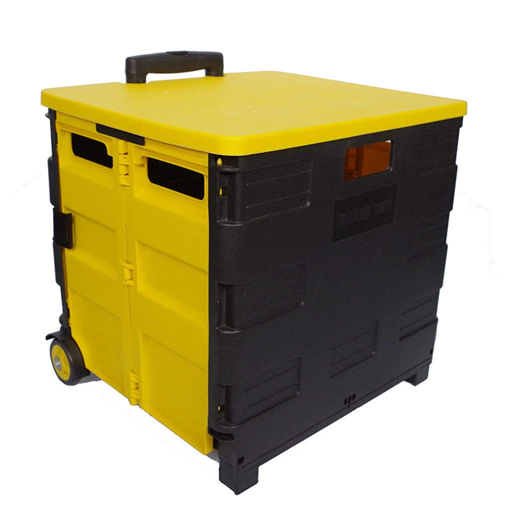 ALUP- 大型折りたたみショッピングカートプラスチックボックス収納荷物ポータブルトロリーケース B07RBV4X1P C