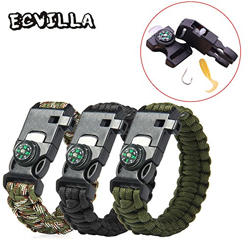 3 PACK Multifunctional Paracord Bracelet, ECVILLA Outdoor Survival Kit Parachute Cord Buckle W Compass Flint Fire Starter Scraper Whistle for Fishing,Hiking,Camping Emergency More (3 PCS)