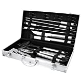 Bbq masters 19 piece professional bbq grill tools & accessories set with storage case - heavy duty stainless steel spatula - tongs - fork - knife - basting brush - skewers