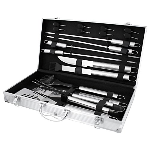 BBQ Masters 19 Piece Professional BBQ Grill Tools and Accessories Set with Storage Case ()