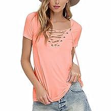 QIYUN.Z Women's V Neck Lace up T-shirt Short Sleeve Tops