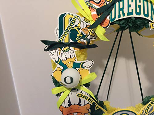 COLLEGE PRIDE - SPIRIT - OU - O - UNIVERSITY OF OREGON - DUCKS - THE OREGON DUCK - DORM DECOR - DORM ROOM - COLLECTOR WREATH - YELLOW AND GREEN CARNATIONS by Peters Partners Design (Image #5)