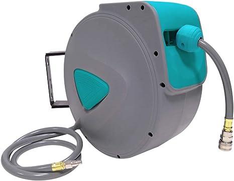 para manguera de pared conector de 1//4 pulgadas Enrollador autom/ático de manguera de aire comprimido LARS360 enrollador autom/ático color gris