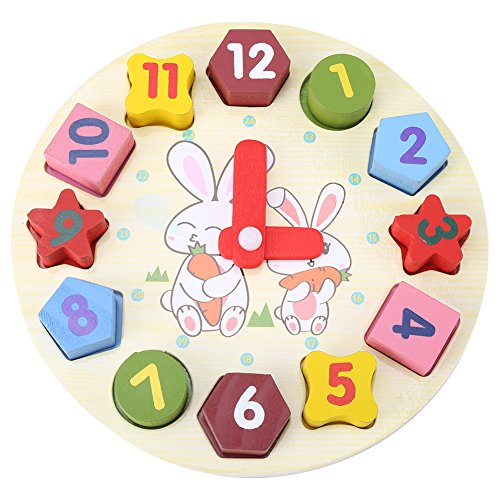 (Children Puzzle Clock, Wooden Digital Geometry Clock Rabbit Pattern Baby Kids Early Education Toys Gift)