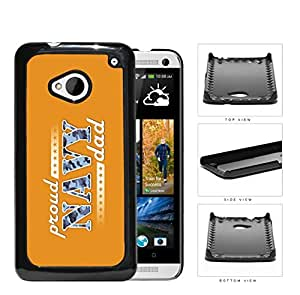 Proud Navy Dad with Blue Camo Letters with Orange Background HTC one M7 Hard Snap on Plastic Cell Phone Case Cover