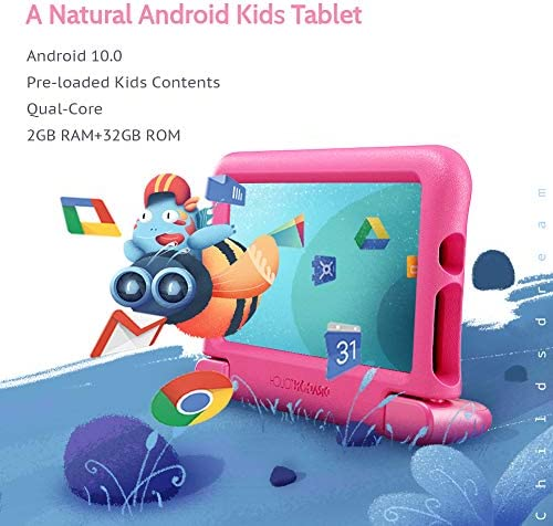"Dragon Touch KidzPad Y88X 7 Kids Tablet with WiFi, Android 10, 7"" IPS HD Display, 32GB ROM, KIDOZ Pre-Installed, with Disney Authorized Contents, Kid-Proof Case, Shoulder Strap and Stylus, Pink"
