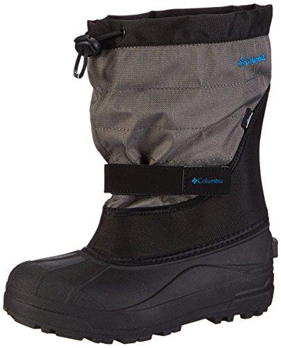 [Columbia Youth Powderbug Plus Winter Boot (Little Kid/Big Kid), Black/Hyper Blue, 4 M US Big Kid] (Boys Boots Sale)
