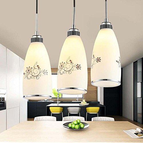 GJX Moderno Minimalista de Tres Cabezas de araña de Cristal E27 Dormitorio Comedor luz Pendiente (Chasis: Redondo,...