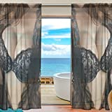 Hot Girl Sexy Women With Beautiful Boobs Window Sheer Curtain Panels, 2 PCS 55x84 inch, Gauze Curtain for Living Room Bedroom Home Decor