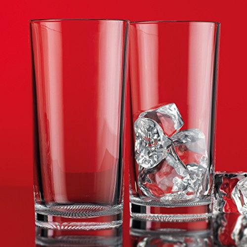 Home Essentials & Beyond Red Series Textured  Hiball 17 Oz Glasses Clear Elegant  Drinking Glassware  for Home Parties Weddings & Bars for Wine, Soda, Juice, Beer,  - Glasses Asda Plastic