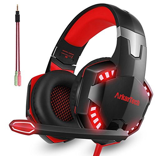 Gaming Headset with Mic For PS4 Xbox One PC, Over Ear Stereo 3.5mm Headphones Gamer with Microphone Noise Canceling For Nintendo Switch Tablet Phone Computer Mac (Free Adapter)