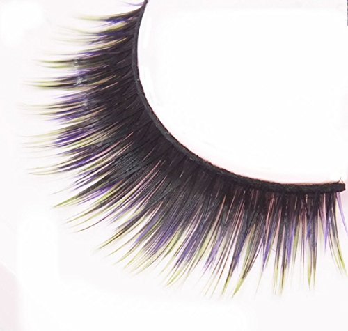 Wehous 3 Pairs Real Long Thick Authentic 3D Natural False Eyelashes Purple Green and Black Color (Green Eyelashes)