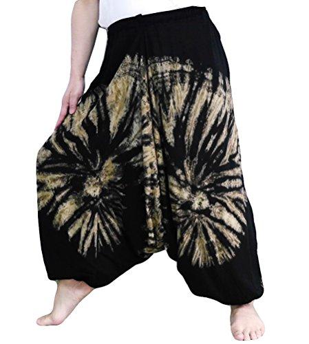 Loong Cha's Women Tie Dye Pants Baggy Aladdin Hippy Harem Adjustable Waist (Black) ()