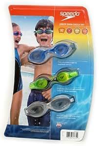 Speedo Junior Swim Goggles - Set of 3 (Blue,Green,White)
