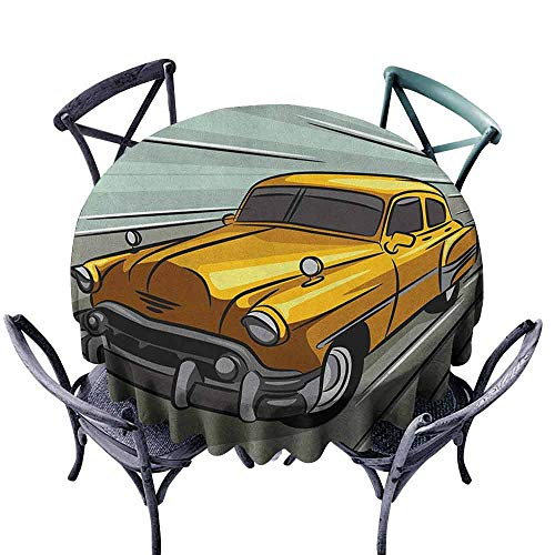 - G Idle Sky Cars Restaurant Tablecloth Speeding Yellow Vintage Car on Road Fast Vehicle Action Retro Inspired Easy Care D43 Reseda Green Yellow Gray