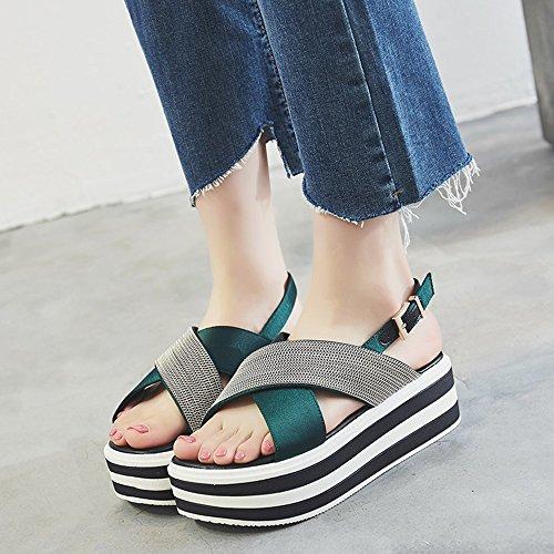 Size CN35 Green Shoes Black Shoes Beach Summer Heighten Open Roman Women's Toe EU36 UK3 Student 5CM Color Sandals 5 Shoe Fashion ZHIRONG Shoes BTz1qwCC