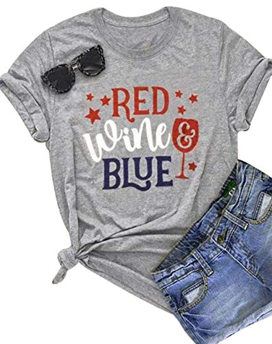 Red Wine Blue T Shirt Women Letter Print Patriotic USA Pride Tee Independence Day Casual Short Sleeve Tops Size M - T-shirt Blue Red