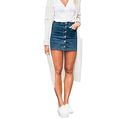 247469ff6b2 Holywin Mini Robe Courte Jupe Boutonnée en Jean Taille Haute Slim Crayon  Femmes  Amazon.fr  Vêtements et accessoires