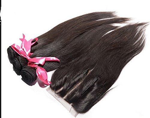 Junhair 3 Way Part 1Pc 4x4 lace closure with Virgin Mongolian Remy Human Hair 3 Bundles Hair Wefts Mixed Length 4Pcs Lot Natural Straight Natural Color Can be Dyed by Junhair