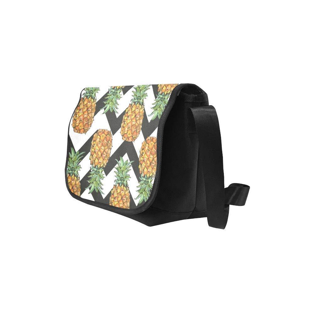 InterestPrint Tropical Pineapple Mens Womens Messenger Bag Crossbody Shoulder Bags for School Traveling Black
