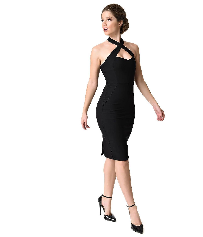Unique Vintage Black Criss Cross Halter Penelope Wiggle Dress