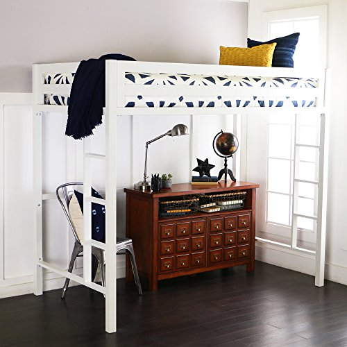 WE Furniture Premium Twin Metal Loft Bed, White (Coated White Powder Bed Bunk)