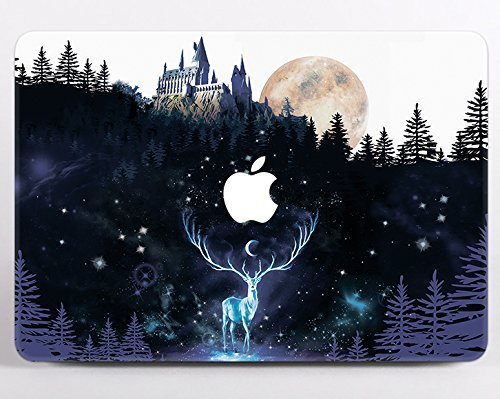 E-deer Primos Electronic - Harry Potter Macbook Air 13 inch Case Hard Hogwarts Castle Deer Expecto Patronum Deathly Hallows Symbol Macbook Air 13 Air 12 Air 11 Pro 13 Pro 15 inch Macbook 12 Retina Muggle Gryffindor Cover MA2172