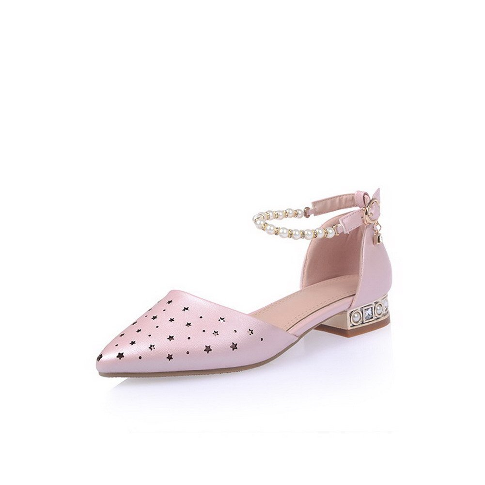 WeenFashion Women's Buckle Low-heels PU Solid Pointed Closed Toe Sandals, Pink, 33
