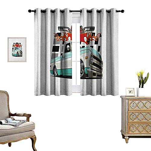 Fireside Drapes - Warm Family Truck Patterned Drape for Glass Door Lowrider Pickup with Racing Flag Pattern Background Speeding on The Streets Modified Waterproof Window Curtain W63 x L45 Multicolor