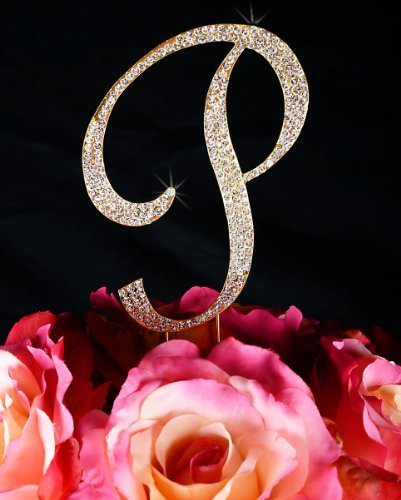Unik Occasions Sparkling Collection Crystal Rhinestone Monogram Cake Topper - Letter Q, Large, Gold