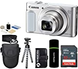 Canon PowerShot SX620 HS 20.2MP Digital Super 25x Optical Zoom Camera (Silver) + SanDisk 32GB Card + Case + Tripod - 32GB Deluxe Accessories Bundle