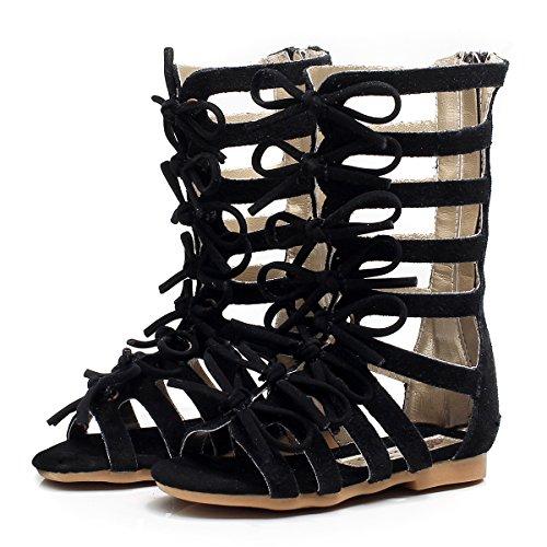 (Children Girls Roman Zipper Bowknot Knee-High Gladiator Sandals Summer Boots (2M US Little Kid, CN33,Black))