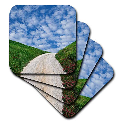3dRose Danita Delimont - Roads - Italy, Tuscany. Dirt road to villa. - set of 8 Ceramic Tile Coasters (cst_313706_4)