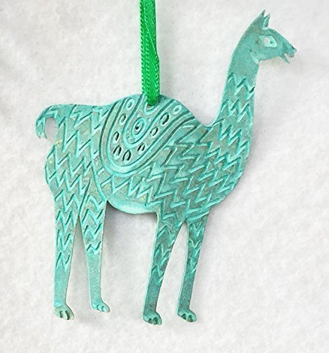 llama original brass ornament with patina finish