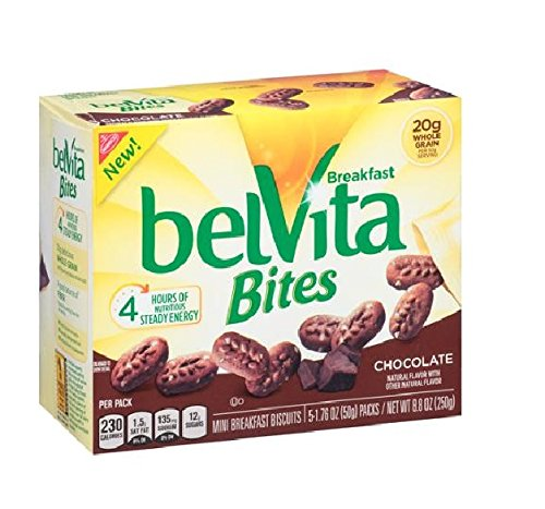 Nabisco, Belvita Bites, Breakfast Biscuits, 8.8oz Box, Chocolate, (Pack of 4) by Belvita