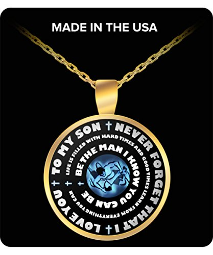 [Folkstyle Wrestling Necklace For Boys - Gold Pendant – To My Son - Personal Gift From Mom & Dad - Inspirational Sports Charm - Blue Design] (Apocalypse Theme Party Costume Ideas)