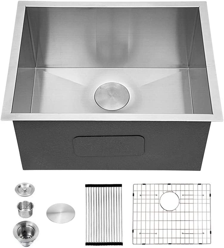 "Sarlai 24""x18""x12"" Deep Undermount Laundry Utility Single Bowl Sink 16 Gauge Stainless Steel"