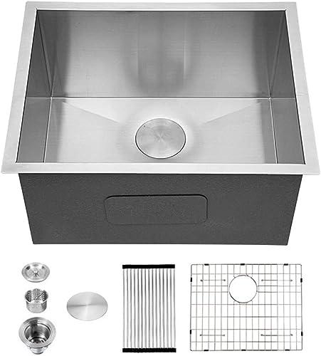 Utility Sink Undermount – Sarlai 24 x18 x12 Deep Undermount Laundry Utility Sink Single Bowl Sink 16 Gauge Stainless Steel