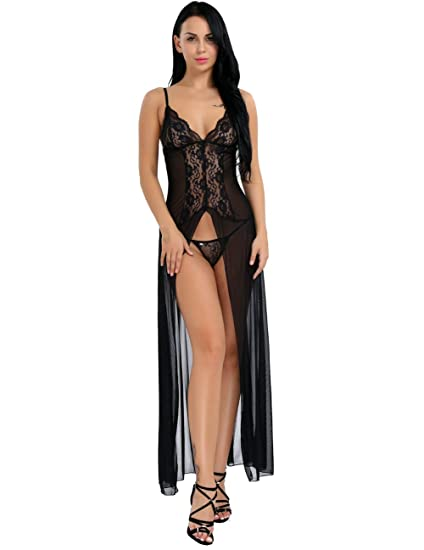 983a81d05 Freebily Sexy Women s Sheer Lace See Through G-String Lingerie Set Babydoll  Nightdress Nightgown Black