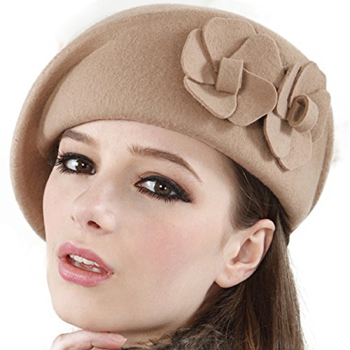 F&n Lady Pillbox Wool Felt Party Wedding Hat Br035-camel