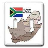 3dRose lsp_99132_2 Political Map and Flag of South Africa with All the Provinces Identified by Name. Double Toggle Switch