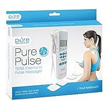 PurePulse Electronic Pulse Massager - Portable, Handheld Tens Unit Muscle Stimulator for Pain Management
