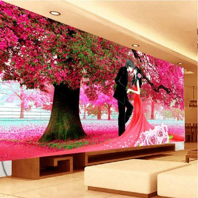 Kisstaker 78x150cm Sakura Cherry Blossom Trees Wedding First Love DIY Cross  Stitch Embroidery Kit Home Decor