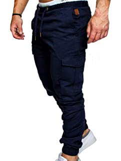 Casual Slim Pantalon Sport Jogging Fit Homme Chino Cargo Jeans 2WDE9YeIbH