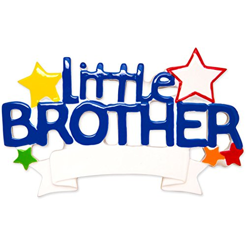 Personalized Little Brother Christmas Tree Ornament 2019 - Blue Word with Stars Best World's Greatest Bro Lil Love Family Tradition Special Forever Memory Sibling Gift Year - Free - Little Ornament Brother