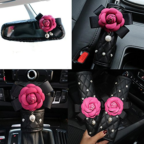 Follicomfy Cute Camellia Flower Leather Car Handbrake Cover Gears Shift Case Crystal Seatbelt Cover Auto 5PCS/Set Interior Accessories,Rose Red ()